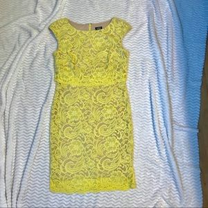 Yellow Lace Knee Length Dress from Modcloth Size 4